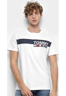 Camiseta Tommy Jeans Essential Box Logo Tee Masculina - Masculino-Branco