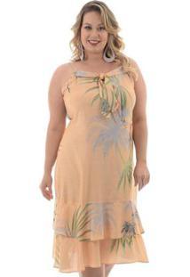 Vestido Babado Duplo Laranja Plus Size