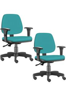 Kit 02 Cadeiras Giratã³Rias Lyam Decor Job Corino Turquesa - Verde - Dafiti