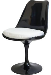 Cadeira Saarinen Preta (Com Almofada Branca) - 15040 - Sun House