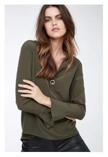 Camisa Seda Polo Ilhos Lisa Verde Militar