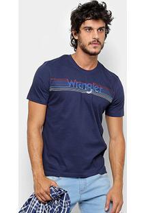 Camiseta Wrangler Estampa Listrada Masculina - Masculino-Marinho