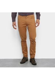 Calça Watkins & Krown Sarja Color Masculina - Masculino-Cáqui