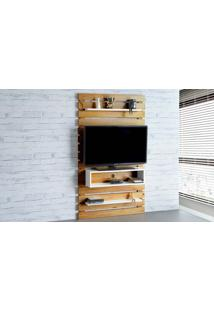 Painel De Tv Para Quarto Standby - Painel De Parede Tv Até 45 Polegadas Nózes E Branco - 100X23X172 Cm