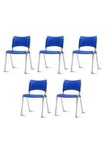 Kit 5 Cadeiras Iso Assento Azul Base Cromada - 57938 Azul