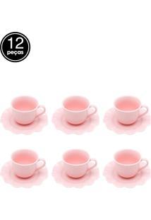 Jogo De 12 Pçs Xícaras Para Café Com Pires De Porcelana Princess Rosa 90Ml Lyor