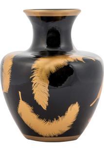 Vaso Decorativo De Porcelana Asilah - Linha Black & Gold