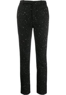 Saint Laurent Sequinned Slim Fit Trousers - Preto