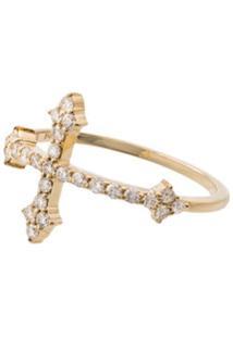 Dru Anel Cross De Ouro 14K Com Diamante - Gold
