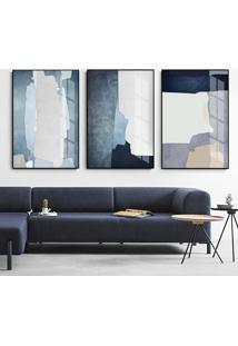 Quadro 75X150Cm Abstrato Hundura Moldura Flutuante Filete Preta Decorativo - Multicolorido - Dafiti