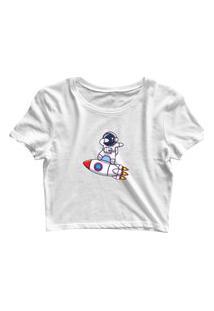 Blusa Blusinha Feminina Cropped Tshirt Camiseta Astronauta Foguete Branco