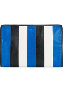 Balenciaga Clutch Em Couro Listrado - Azul
