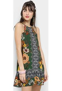 ba9828d76 ... Vestido Farm Evasê Curto Regata Floral Bongo - Feminino-Verde