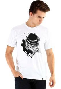 Camiseta Ouroboros Manga Curta Cat Clockwork - Masculino-Branco