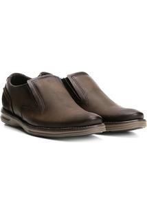 Sapato Social Couro Pegada Sem Cadarço Masculino - Masculino-Marrom