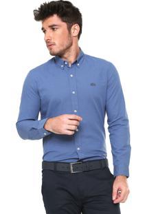 Camisa Lacoste Slim Padronagem Azul