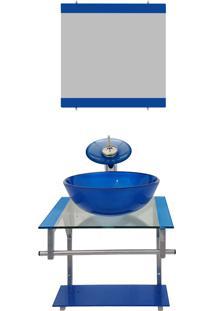 Gabinete De Vidro Para Banheiro Polônia Azul Escuro Ekasa