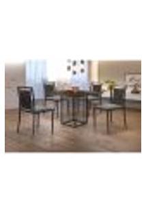 Conjunto De Mesa De Jantar Hera Com Tampo Mocaccino E 4 Cadeiras Grécia I Linho Cinza E Preto