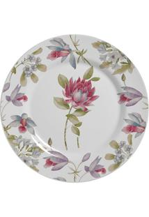 Prato De Sobremesa Alleanza Coleção Prata Flores Colorido 19,5Cm