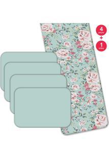 Jogo Americano Love Decor Com Caminho De Mesa Wevans Flowers Kit Com 4 Pçs 1 Trilho