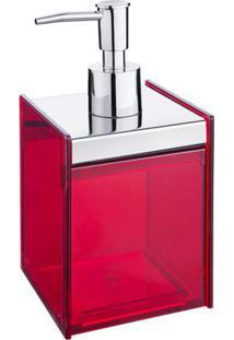 Porta Sabonete LãQuido Quadrada- Inox & Vermelho- 17Brinox