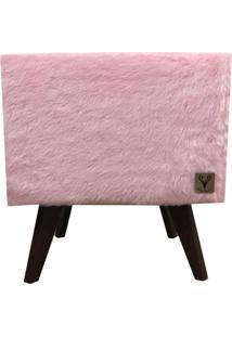 Puff Pé Palito Quadrado Alce Couch Pelinho Pelúcia Rosa 40Cm