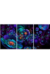 Quadro Decorativo Para Sala Flor Roxa Abstrato - Multicolorido - Dafiti