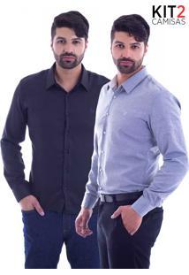 Kit 2 Camisas Slim Fit Live Luxor - Preto E Mescla Clara-Gg