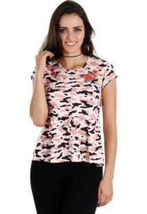 Camiseta Camuflada Feminina Fakini - Rosa