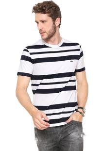 Camiseta Lacoste Listrada Branca/Azul-Marinho