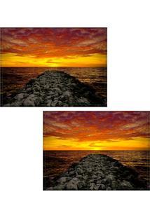 Jogo Americano Colours Creative Photo Decor - Paisagem De Mar Em Cartagena Na Colômbia - 2 Peças