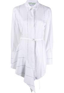 Off-White Vestido Drapeado Com Cinto E Listras - Branco