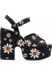 Miu Miu Sandália Com Estampa Floral - Preto
