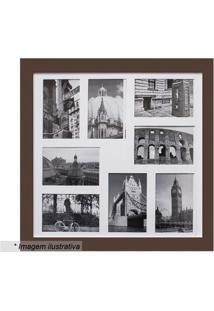 Painel Para 8 Fotos- Marrom & Branco- 45X45X2Cmkapos