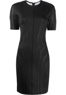 Mugler Fitted Textured Cocktail Dress - Preto