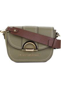 Bolsa Couro Jorge Bischoff Mini Bag Croco Feminina - Feminino-Verde Militar