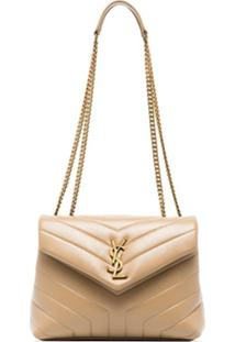 Saint Laurent Beige Loulou Logo Leather Shoulder Bag - Marrom
