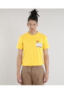 Camiseta Masculina A.E.P.O.F. + C&A By Pedro Andrade Manga Curta Gola Careca Amarela