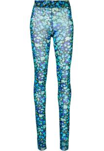 Ganni Macacão Skinny Floral - Azul
