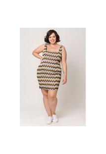 Vestido Curto Almaria Plus Size Tal Qual Decote Quadrado Amarelo