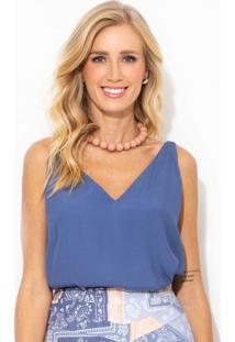 Blusa De Crepe Decote V Azul