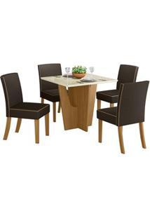 Sala De Jantar Mesa Quadrada Vértice 90Cm Com 4 Cadeiras Maris Nature/