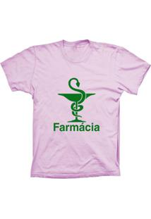Camiseta Lu Geek Manga Curta Farmácia Rosa