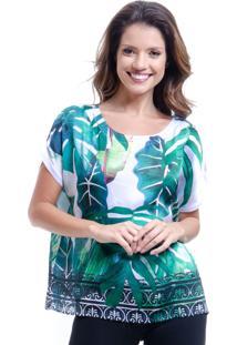Blusa 101 Resort Wear Tipo T-Shirt Ampla Decote Careca Cetim Estampada Folhas Verde