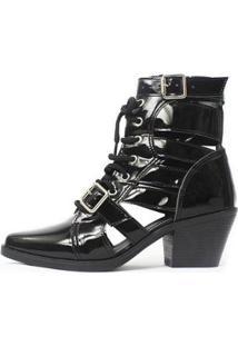 Bota Gladiadora Damannu Shoes Jennie Feminina - Feminino-Preto