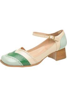 Sapato Retrô Bico Quadrado Touro Boots Feminino Verde E Bege - Kanui