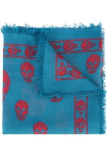 Alexander Mcqueen Cachecol Com Estampa De Caveira - Azul 13c2abfcf76