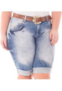 Bermuda Jeans Feminina Barra Dobrada Com Lycra Plus Size