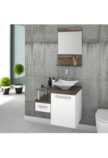 Conjunto Para Banheiro Gabinete Com Cuba De Apoio Folha L34 E Espelheira Legno 631W Branco/Carvalho Dark