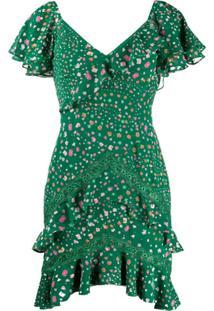 Three Floor Vestido Elsie Gola V Com Acabamento De Babados - Verde